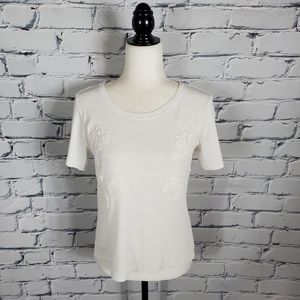 See By Chloe White T-Shirt with Floral Appliques